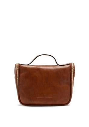 Brunello Cucinelli - Grained-leather Fold-out Washbag - Mens - Brown