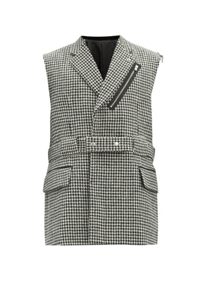 Takahiromiyashita Thesoloist. - Houndstooth-check Wool-twill Sleeveless Blazer - Mens - Grey