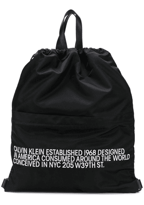 Calvin Klein 205W39nyc slogan drawstring backpack - Black