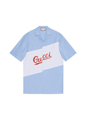 Oversize bowling shirt with Gucci script