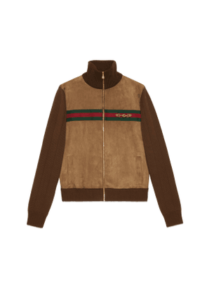 Suede and knit cotton bomber jacket