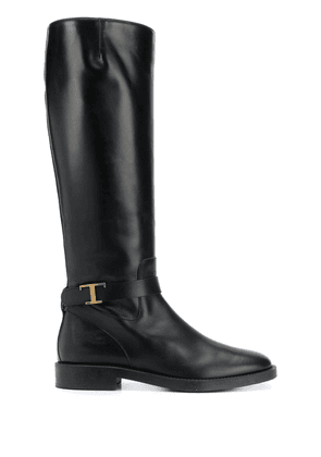 Tod's logo plaque knee-high boots - Black