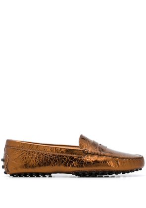 Tod's hammered leather driving shoes - Brown