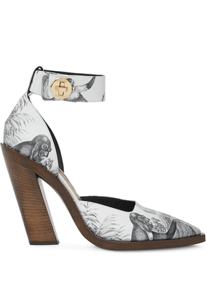 Burberry monkey print pumps - White