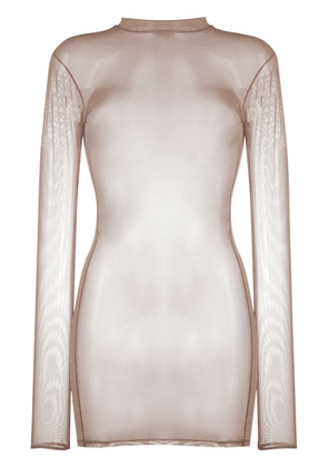 Maison Close sheer mesh mini dress - NEUTRALS