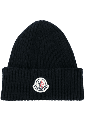 Moncler ribbed beanie - Blue