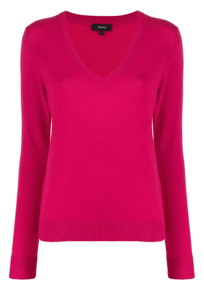 Theory cashmere knitted v-neck jumper - PINK