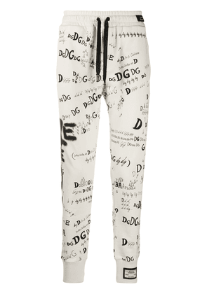 Dolce & Gabbana DG logo tapered track pants - White