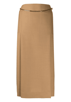 Victoria Beckham chain-detail pleated midi skirt - Neutrals
