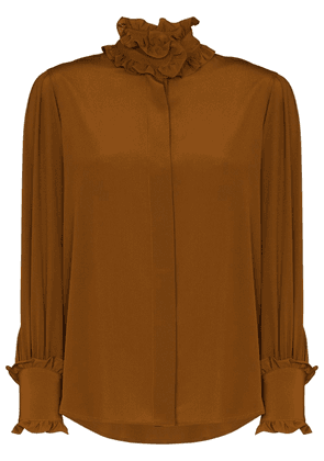 Victoria Beckham ruffled silk blouse - Brown