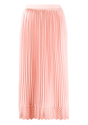 Marco De Vincenzo chevron-pattern pleated midi skirt - PINK