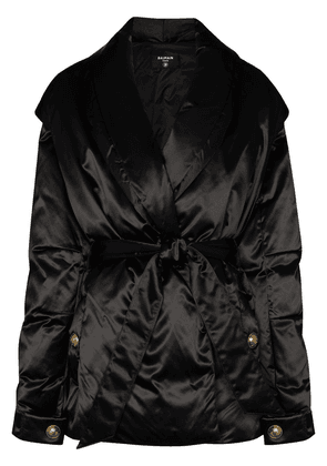 Balmain tie-waist padded jacket - Black