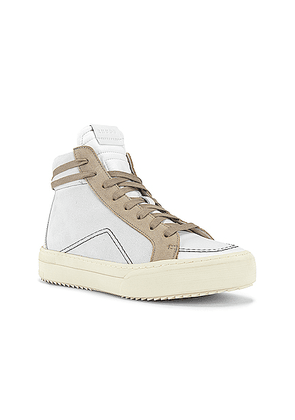 Rhude V1-Hi Sneaker in White Leather & Grey Suede & Brown White - Gray,White. Size 12 (also in 8,9).
