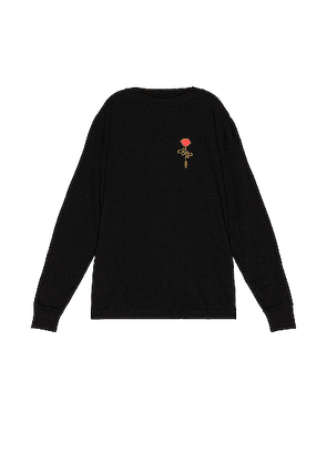 Palm Angels Small Rose Long Sleeve Tee in Black & Red - Black. Size M (also in XL).
