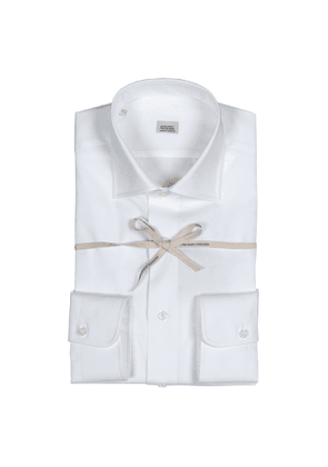 White Compact Cotton Shirt with Italian Collar