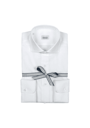 White Zephir Cotton Shirt with High French Collar