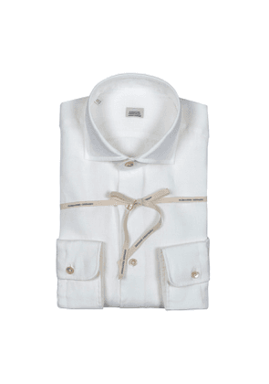 White Linen Shirt With High French Collar