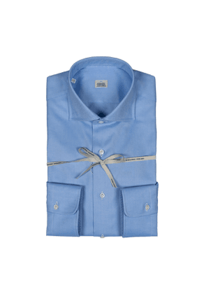 Blue Oxford Cotton Shirt With High French Collar