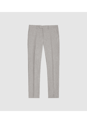 Reiss Time - Cotton Linen Blend Slim Fit Trousers in Light Grey, Mens, Size 28