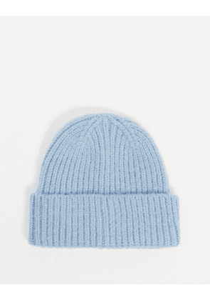 ASOS DESIGN chunky beanie with deep turn up in blue