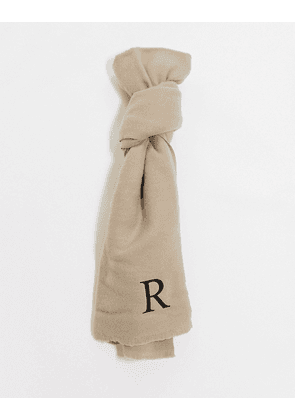 ASOS DESIGN personalised scarf with initial R-Brown