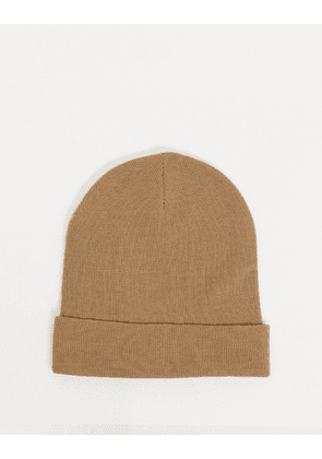 ASOS DESIGN recycled polyester deep turn up beanie hat in camel-Brown