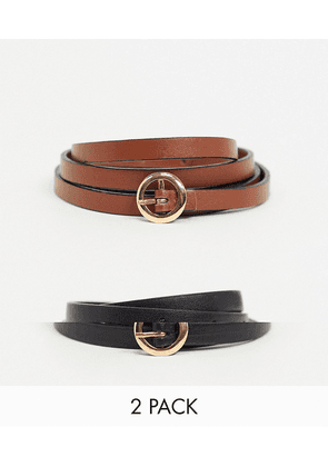 ASOS DESIGN 2 pack mini circle buckle skinny waist and hip belts in black and brown-Multi