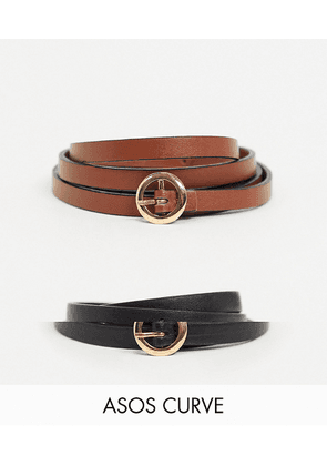 ASOS DESIGN Curve 2 pack mini circle buckle skinny waist and hip belts in black and brown-Multi