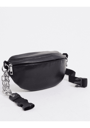 ASOS DESIGN PU bum bag with chunky chain in black