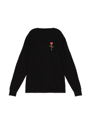 Palm Angels Small Rose Long Sleeve Tee in Black. Size XL.