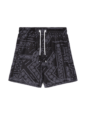 Palm Angels Bandana Mesh Shorts in Black,Paisley. Size XL.