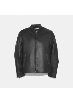 Leather Racer Jacket in Black - Size 50