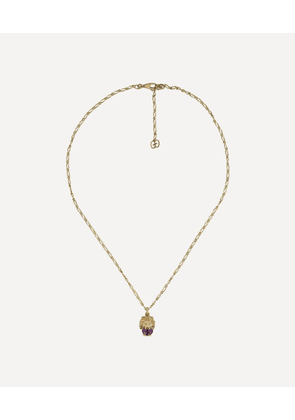 Gold Amethyst and Diamond Lion Head Pendant Necklace