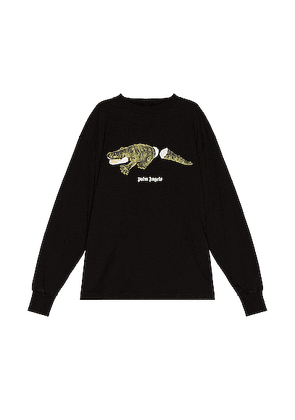 Palm Angels Croco Long Sleeve Tee in Black & Green - Black. Size M (also in ).