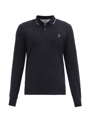 Brunello Cucinelli - Crest-embroidered Cotton-jersey Polo Shirt - Mens - Navy