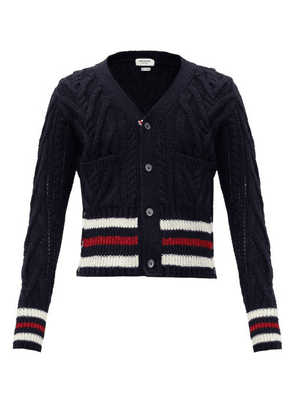 Thom Browne - Tricolour-stripe Cabled Wool-blend Cardigan - Mens - Navy