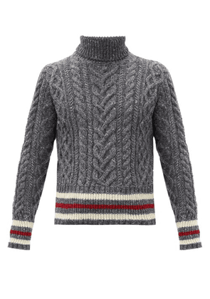 Thom Browne - Striped Cable-knit Wool-blend Sweater - Mens - Grey