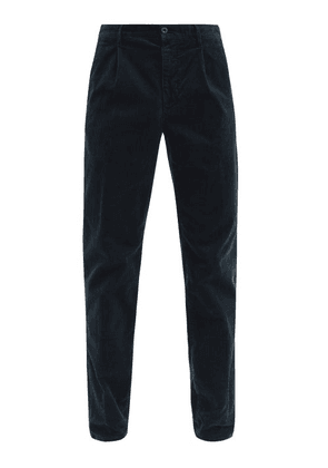 Incotex - Pleated Cotton-blend Corduroy Tapered Trousers - Mens - Navy