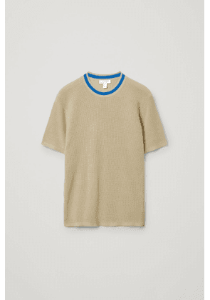 ORGANIC COTTON CONTRAST NECK KNITTED T-SHIRT