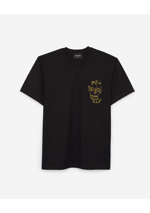 The Kooples - Black cotton T-shirt with chest embroidery - MEN