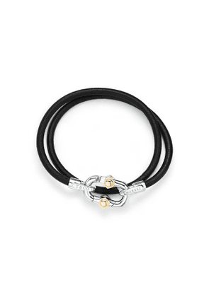 Tiffany 1837™ Makers black calfskin leather cord bracelet with silver and gold - Size Small