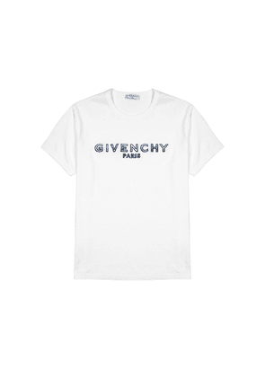 Givenchy White Logo-embroidered Cotton T-shirt