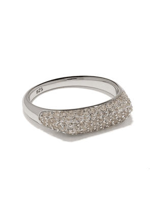 Tom Wood Knut crystal studded ring - SILVER