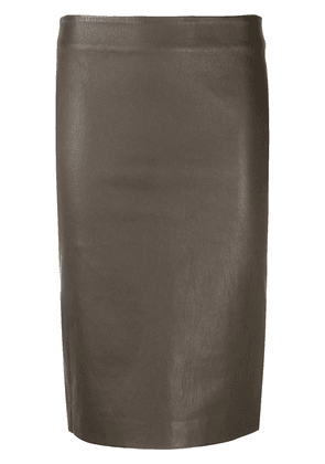 Theory leather pencil skirt - Brown