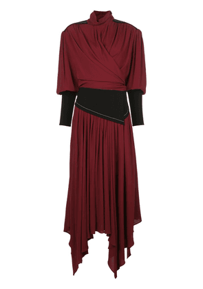 Proenza Schouler fitted sleeves draped dress - Red