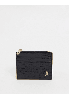 ASOS DESIGN personalised A coin purse & cardholder in black croc