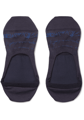 Berluti - Scritto Logo-Intarsia Stretch Cotton-Blend No-Show Socks - Men - Blue
