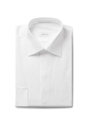 Brioni - White Slim-Fit Bib-Front Double-Cuff Cotton-Voile Shirt - Men - White