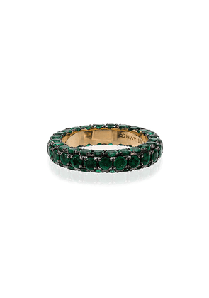 SHAY green and yellow gold 3 side emerald ring