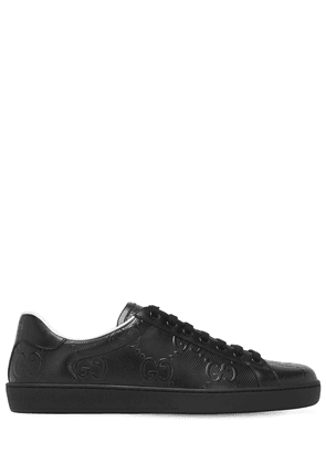 New Ace Gg Embossed Leather Sneakers